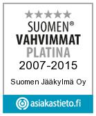 Suomen vahvimmat platina -sertifikaatti Suomen Jääkylmä Oy:lle
